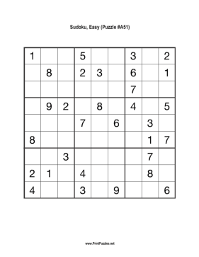 Sudoku - Easy A51 Printable Puzzle