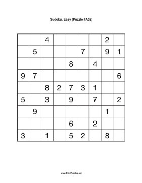 Sudoku - Easy A52 Printable Puzzle