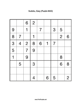 Sudoku - Easy A53 Printable Puzzle