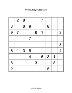 Sudoku - Easy A56 Printable Puzzle