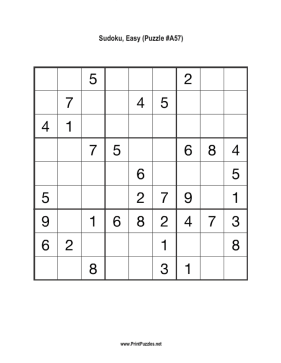 Sudoku - Easy A57 Printable Puzzle