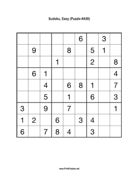 Sudoku - Easy A59 Printable Puzzle