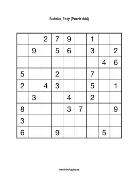Sudoku - Easy A6 Printable Puzzle