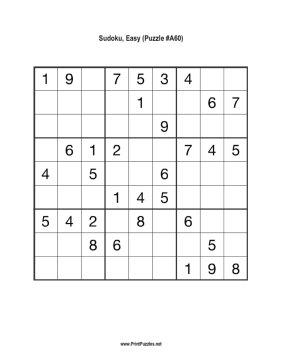 Sudoku - Easy A60 Printable Puzzle