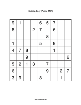 Sudoku - Easy A61 Printable Puzzle
