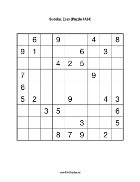 Sudoku Easy A64 Printable Puzzle