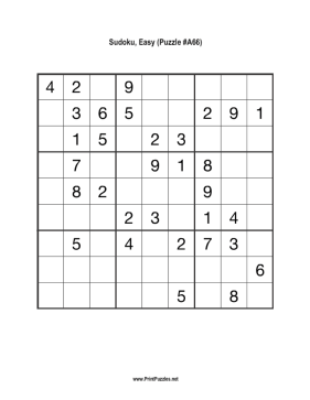 Sudoku - Easy A66 Printable Puzzle