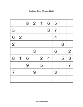 Sudoku - Easy A68 Printable Puzzle