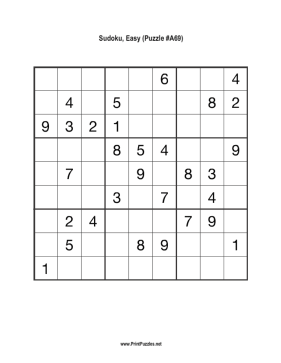 Sudoku - Easy A69 Printable Puzzle