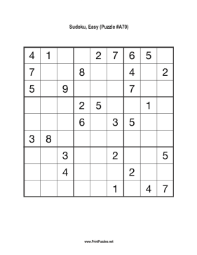 Sudoku - Easy A70 Printable Puzzle