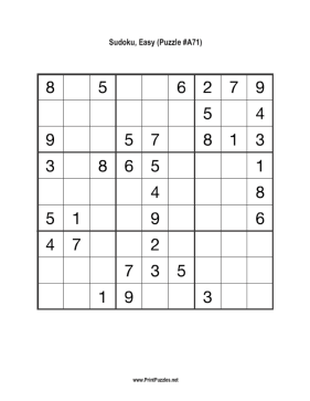 Sudoku - Easy A71 Printable Puzzle