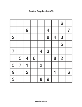 Sudoku - Easy A72 Printable Puzzle