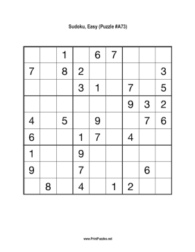 Sudoku - Easy A73 Printable Puzzle