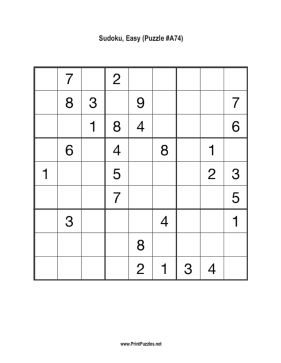 Sudoku - Easy A74 Printable Puzzle