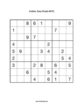 Sudoku - Easy A75 Printable Puzzle