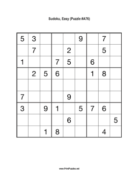 Sudoku - Easy A76 Printable Puzzle