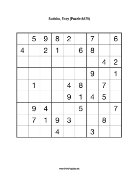Sudoku - Easy A79 Printable Puzzle
