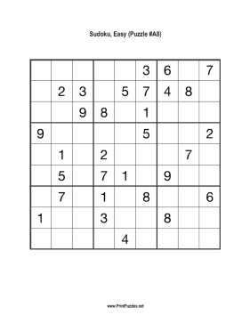 Sudoku - Easy A8 Printable Puzzle