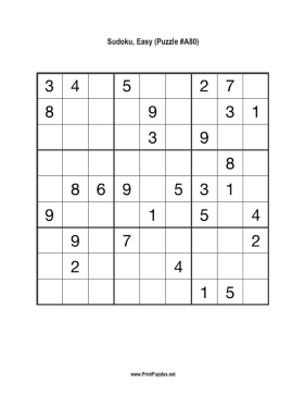 Sudoku - Easy A80 Printable Puzzle