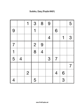 Sudoku - Easy A81 Printable Puzzle