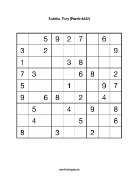 Sudoku - Easy A82 Printable Puzzle