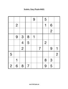 Sudoku - Easy A83 Printable Puzzle