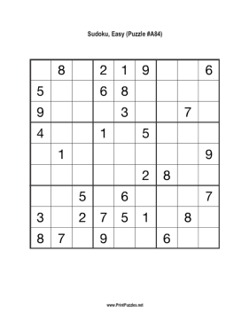Sudoku - Easy A84 Printable Puzzle