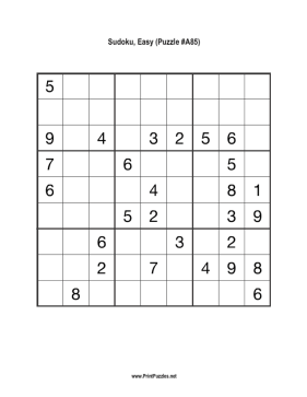 Sudoku - Easy A85 Printable Puzzle