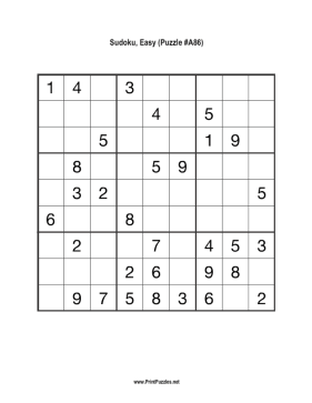 Sudoku - Easy A86 Printable Puzzle