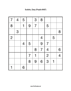 Sudoku - Easy A87 Printable Puzzle