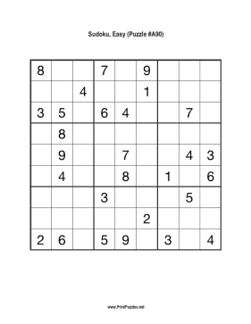 Sudoku - Easy A90 Printable Puzzle