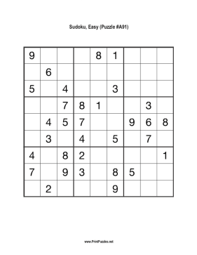 Sudoku - Easy A91 Printable Puzzle