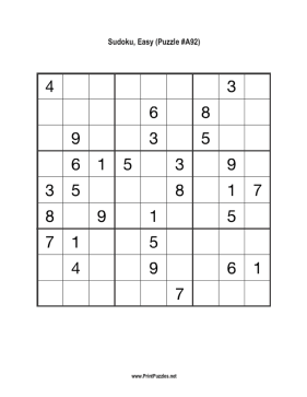 Sudoku - Easy A92 Printable Puzzle