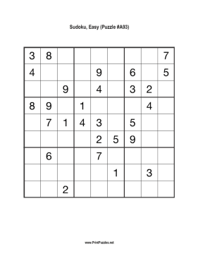 Sudoku - Easy A93 Printable Puzzle