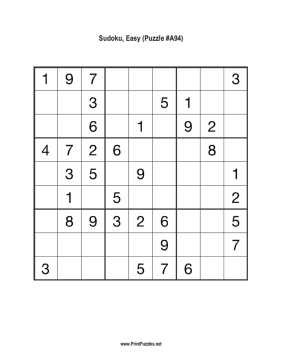 Sudoku - Easy A94 Printable Puzzle