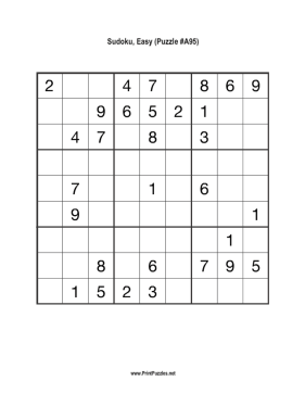 Sudoku - Easy A95 Printable Puzzle