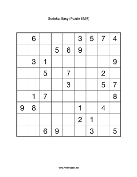 Sudoku - Easy A97 Printable Puzzle