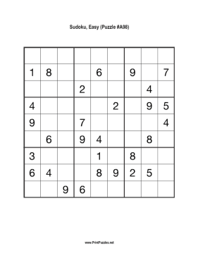 Sudoku - Easy A98 Printable Puzzle