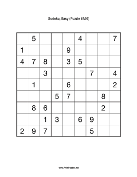 Sudoku - Easy A99 Printable Puzzle
