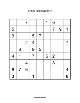 image regarding Difficult Sudoku Printable named Sudoku - Challenging A16 Printable Puzzle