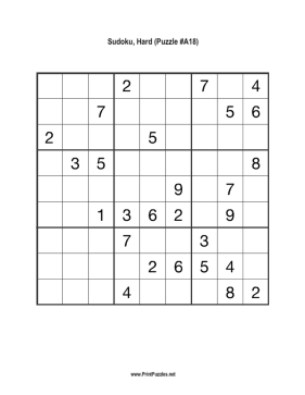graphic regarding Sudoku Printable Hard identified as Sudoku - Demanding A18 Printable Puzzle