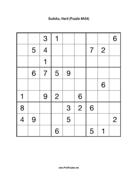photo relating to Sudoku Hard Printable titled Sudoku - Tough A54 Printable Puzzle