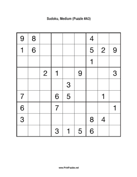 photo relating to Hard Sudoku Puzzles Printable named Sudoku - Medium A3 Printable Puzzle