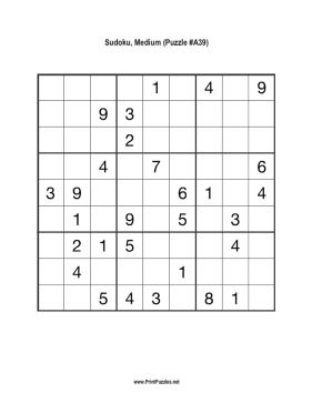 photograph about Medium Sudoku Printable identified as Sudoku - Medium A39 Printable Puzzle