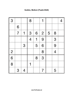 photo about Medium Sudoku Printable identify Sudoku - Medium A46 Printable Puzzle