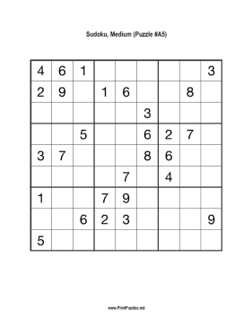 picture relating to Sudoku Printable Medium known as Sudoku - Medium A5 Printable Puzzle