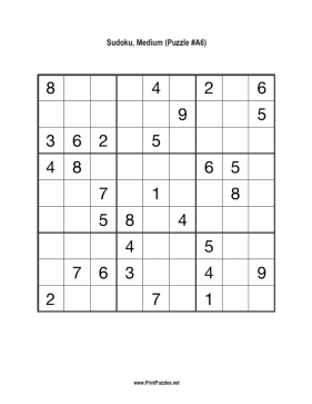 picture about Printable Sudoku Medium titled Sudoku - Medium A6 Printable Puzzle