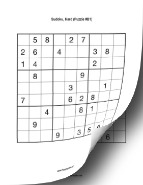 Printable Sudoku Book - Hard Printable Puzzle